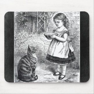 Vintage Girl Feeding Cat a Saucer of Milk Mouse Pad
