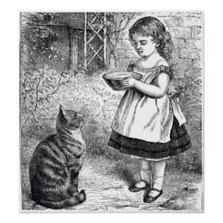 Vintage Girl Feeding Cat a Saucer of Milk Poster