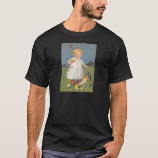 Vintage Girl Feeding Easter Chicks Easter Card T-Shirt