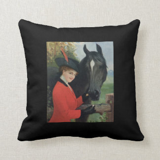 Vintage Girl Feeding Horse Sugar Cube Throw Pillow