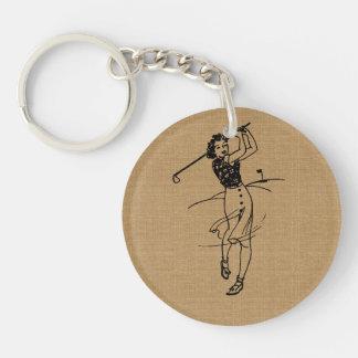 Vintage Girl Golfer on Faux Burlap Decorative Keychain