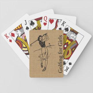 Vintage Girl Golfer on Faux Burlap Decorative Poker Cards