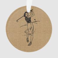 Vintage Girl Golfer on Faux Burlap Decorative Ornament
