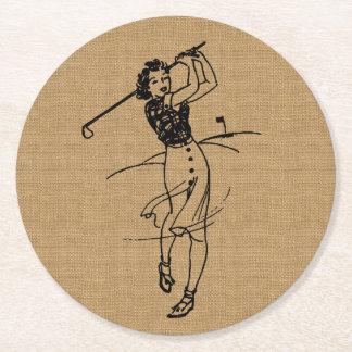 Vintage Girl Golfer on Faux Burlap Decorative Round Paper Coaster
