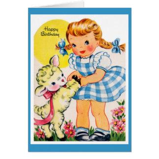 Vintage girl greeting card