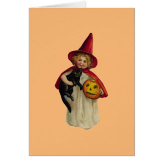 Vintage Girl Halloween Greeting Card