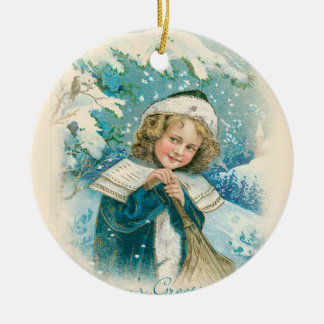 Vintage Girl in Blue Winter Ceramic Ornament