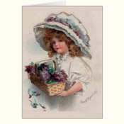 Vintage Girl in Bonnet Thank You Card