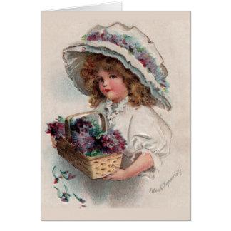 Vintage Girl in Bonnet Thank You Card