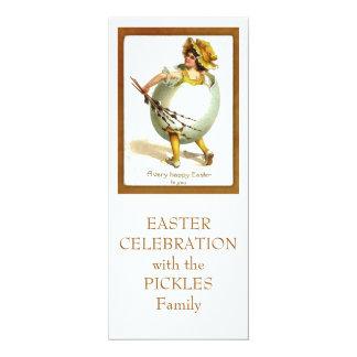 Vintage Girl in Egg Costume 4x9.25 Paper Invitation Card