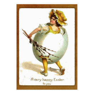 Vintage Girl in Egg Costume Gift Tag Large Business Card