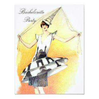 "Vintage Girl in Eiffel Tower Costume Bachelorette 4.25"" X 5.5"" Invitation Card"