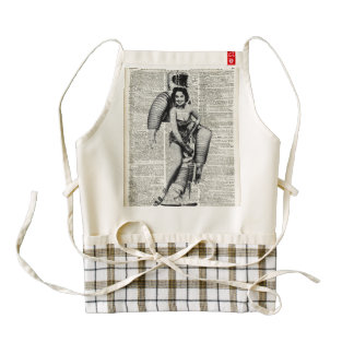 Vintage Girl in robot costume Zazzle HEART Apron