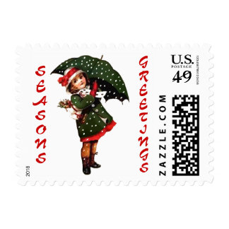 Vintage Girl in Snow Christmas Postage Stamp