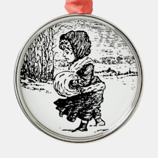 Vintage Girl In Snowstorm Christmas Ornament