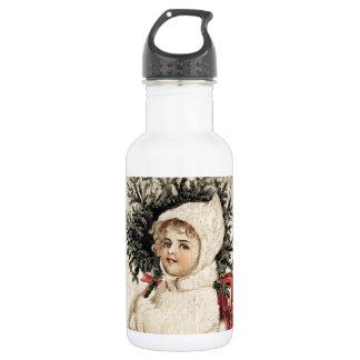 Vintage Girl in White Christmas Tree Snow Water Bottle