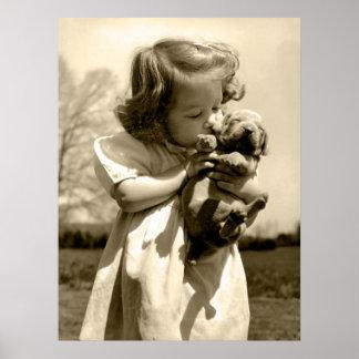 Vintage Girl Kisses Puppy Poster