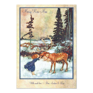 Vintage Girl Kissing Moose Card