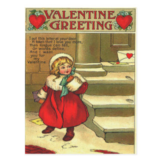 Vintage Girl Leaving Valentine Card On Doorstep