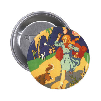Vintage Girl Little Red Riding Hood Birthday Party Button