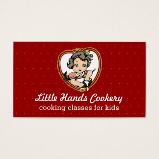 Vintage girl mixing bowl kids cooking classes business card