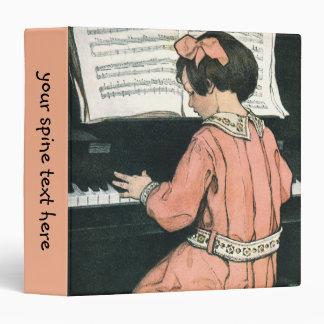 Vintage Girl, Music, Piano, Jessie Willcox Smith 3 Ring Binder
