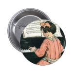 Vintage Girl, Music, Piano, Jessie Willcox Smith Buttons
