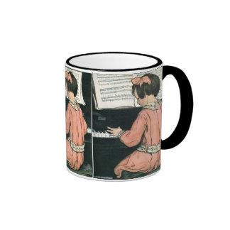 Vintage Girl, Music, Piano, Jessie Willcox Smith Ringer Coffee Mug