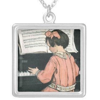Vintage Girl, Music, Piano, Jessie Willcox Smith Square Pendant Necklace