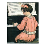 Vintage Girl, Music, Piano, Jessie Willcox Smith Postcard