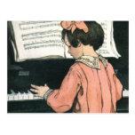 Vintage Girl, Music, Piano, Jessie Willcox Smith Post Card