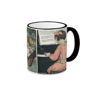 Vintage Girl, Music, Piano, Jessie Willcox Smith Ringer Mug