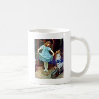Vintage Girl New Dress Collie pet dogs Coffee Mug
