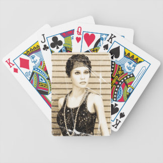Vintage Girl, Old Photo Effect Bicycle Playing Cards