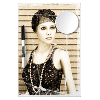 Vintage Girl, Old Photo Effect Dry Erase Board With Mirror