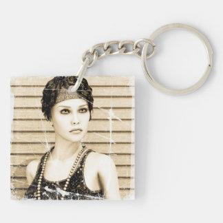 Vintage Girl, Old Photo Effect Keychain