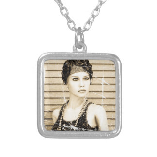 Vintage Girl, Old Photo Effect Silver Plated Necklace
