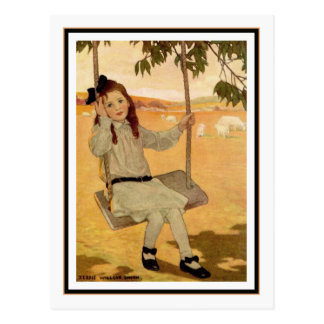 Vintage Girl on Swing by Jessie Willcox Smith Postcard