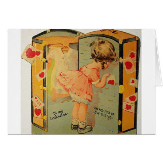Vintage Girl Packing Valentine's Day Card