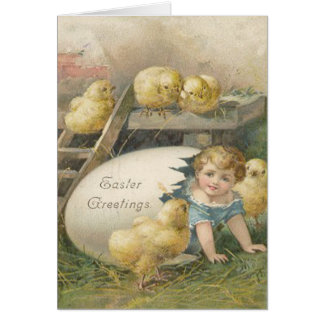 Vintage Girl Playing With Chicks Easter Card