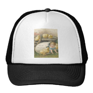 Vintage Girl Playing With Chicks Easter Card Trucker Hat