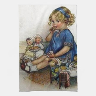 Vintage Girl Playing with Dolls Kitchen Towel