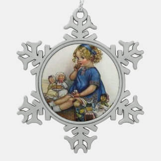 Vintage Girl Playing with Dolls Snowflake Pewter Christmas Ornament
