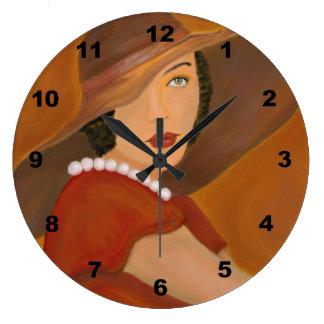 Vintage Girl Portrait Painting Large Clock