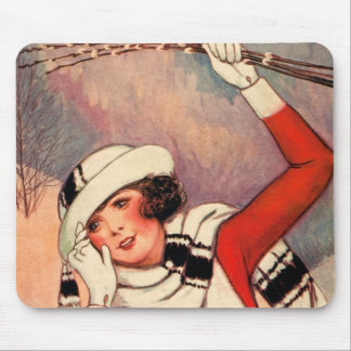 Vintage Girl Pussy Willows Winter Scarf Red Mouse Pad