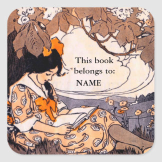 Vintage girl reading book plate square sticker