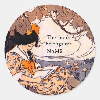 Vintage girl reading book plate sticker