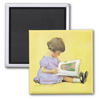 Vintage Girl Reading by Jessie Willcox Smith Magnet