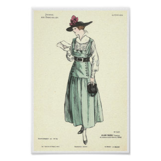 Vintage girl reading letter French fashion 1915 Poster