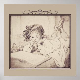 Vintage Girl Reading Poster